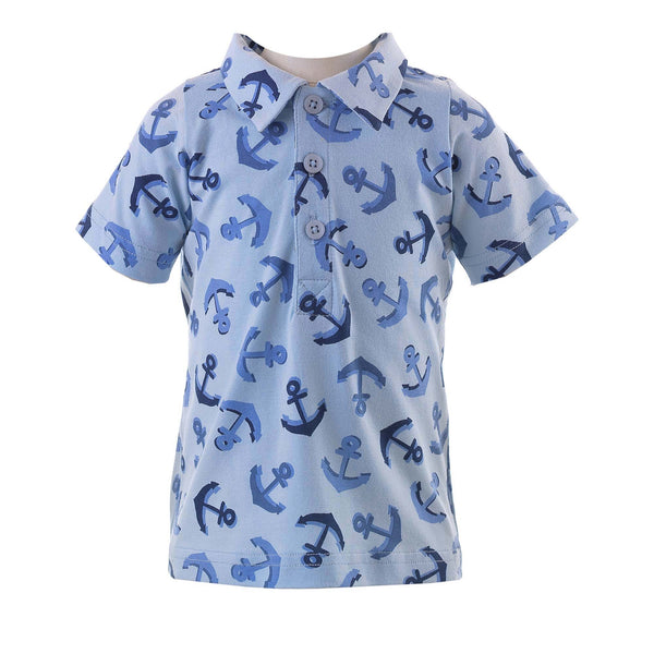 Baby Boy Blue Anchor Print Polo Shirt