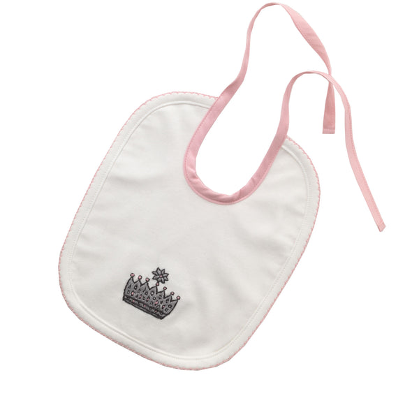 Princess Crown Embroidered Bib
