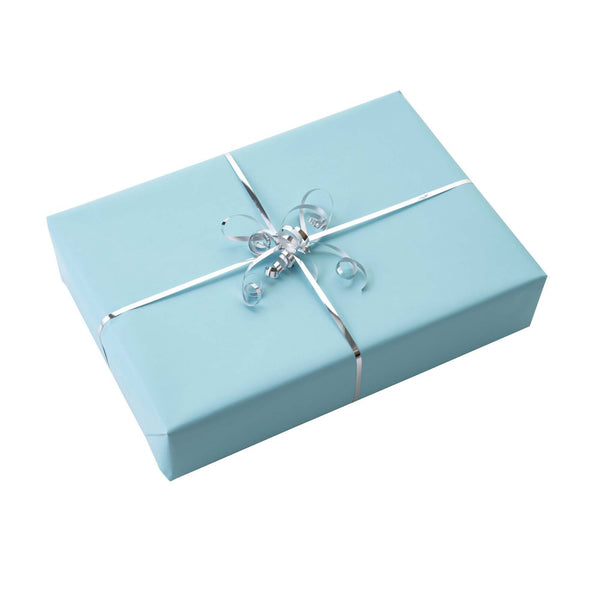 Blue Wrapping Paper & Silver Ribbon