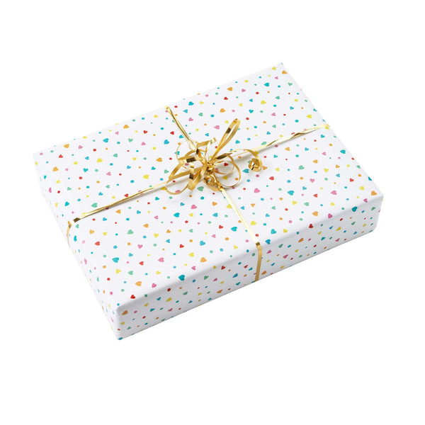 Heart Wrapping Paper & Gold Ribbon