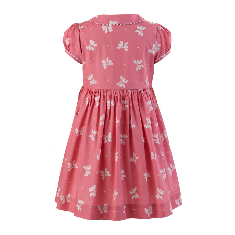 Girls Coral Pink Bow Print Button Front Cotton Dress
