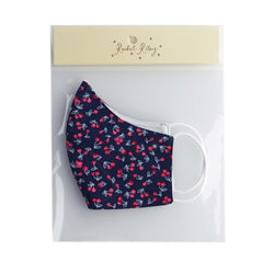 Navy Cherry Print Face Mask, Women's