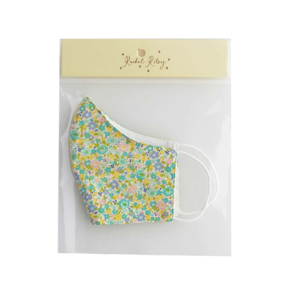 Blue Floral Print Face Mask, Children's