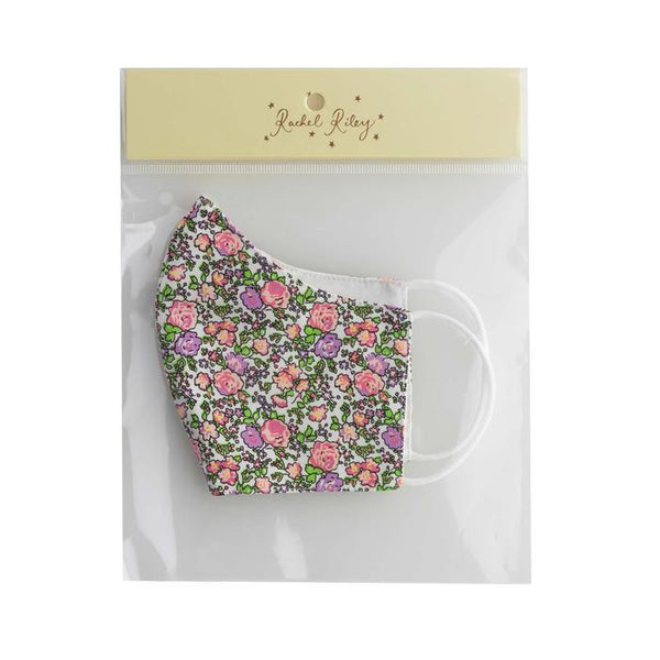 Pink Floral Print Face Mask, Women's