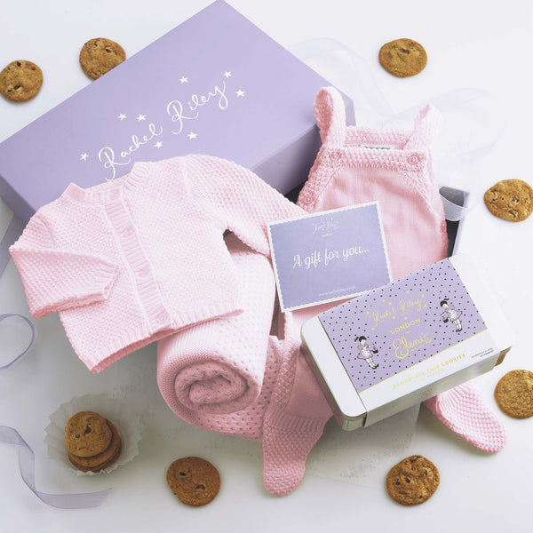 Mom & Baby Girl Moss Stitch Cookie Gift Set