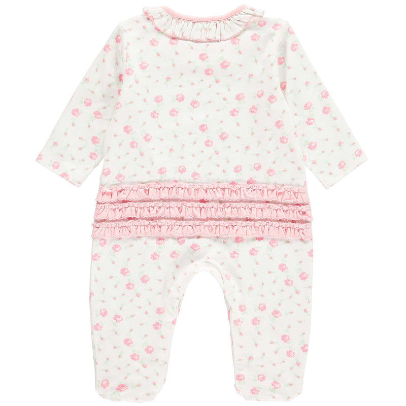 Pretty rose print babygro with a frill collar and a picot trim detail. Solid pink frills at back bottom and a button snap closure at inner leg for easy changing. babygrow, sleepsuit, newborn sleepsuit, baby sleepsuit, toddler sleepsuit, one-piece footie, baby footie, one-piece footed sleeper for babies, footed onesie