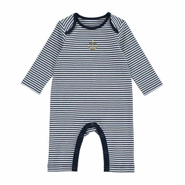 Nautical narrow striped footless babygro with a gold embroidered anchor motif and a navy binding. Envelope neck and inner leg opening for easy changing. Coordinating items available. babygrow, sleepsuit, newborn sleepsuit, baby sleepsuit, toddler sleepsuit, one-piece footless, baby footie, one-piece footless sleeper for babies, footless  onesie, nautical baby boy clothes