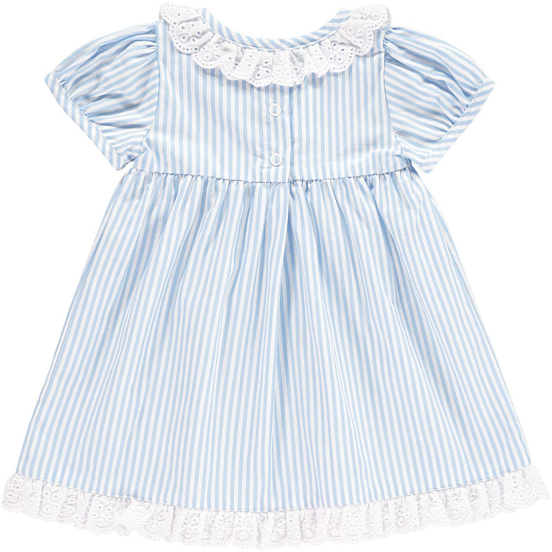 Broderie Trim Striped Dress