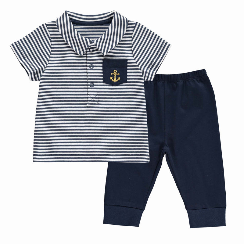 Striped Anchor Motif Polo & Trouser Set