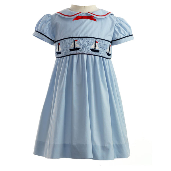 Sailboat Smocked Dress & Bloomer