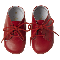 Lace Up Bootees, Red