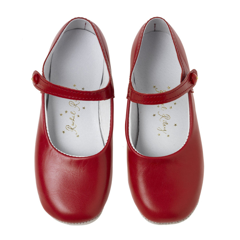Button Strap Slipper, Red