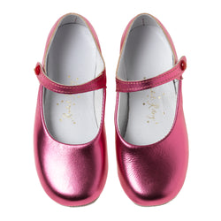 Button Strap Slipper, Metallic Fuchsia