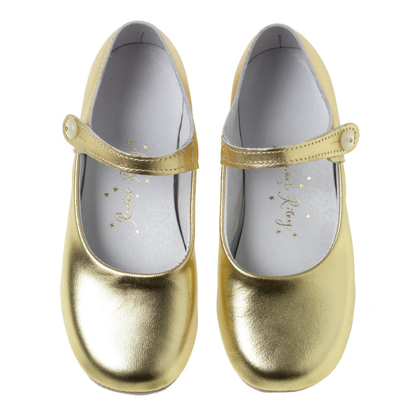 Button Strap Slipper, Gold