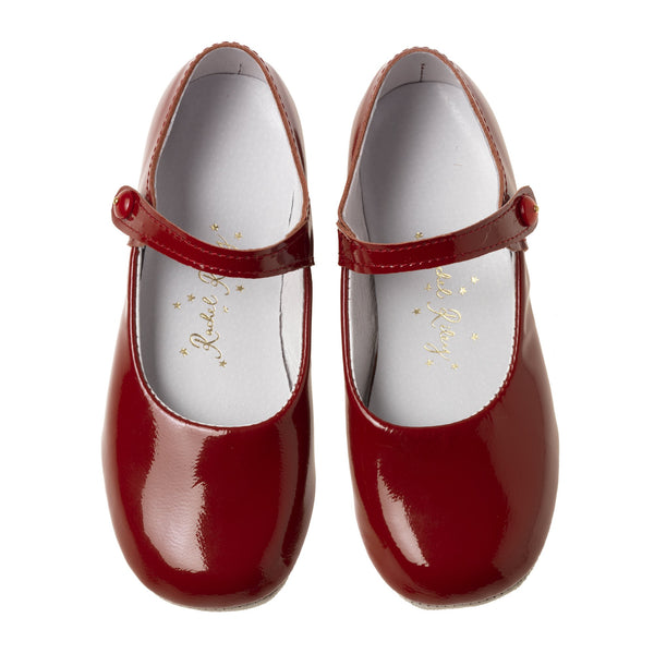Button Strap Slipper, Red Patent