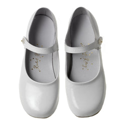 Button Strap Slipper, White Patent