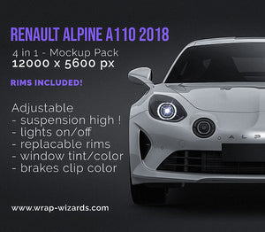 Renault Alpine A110 2018 - all sides Car Mockup Template.psd