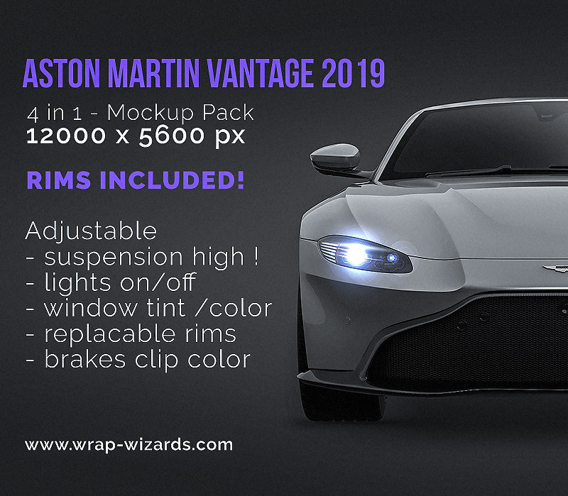 Aston Martin Vantage 2019 - all sides Car Mockup Template.psd