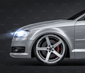 Audi A3 2009 Sportback all sides Car Mockup Template.psd