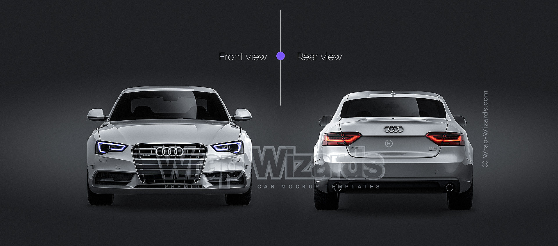 Audi A5 coupe 2012- all sides Car Mockup Template.psd