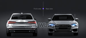 Audi A6 Avant S-line 2019 all sides Car Mockup Template.psd