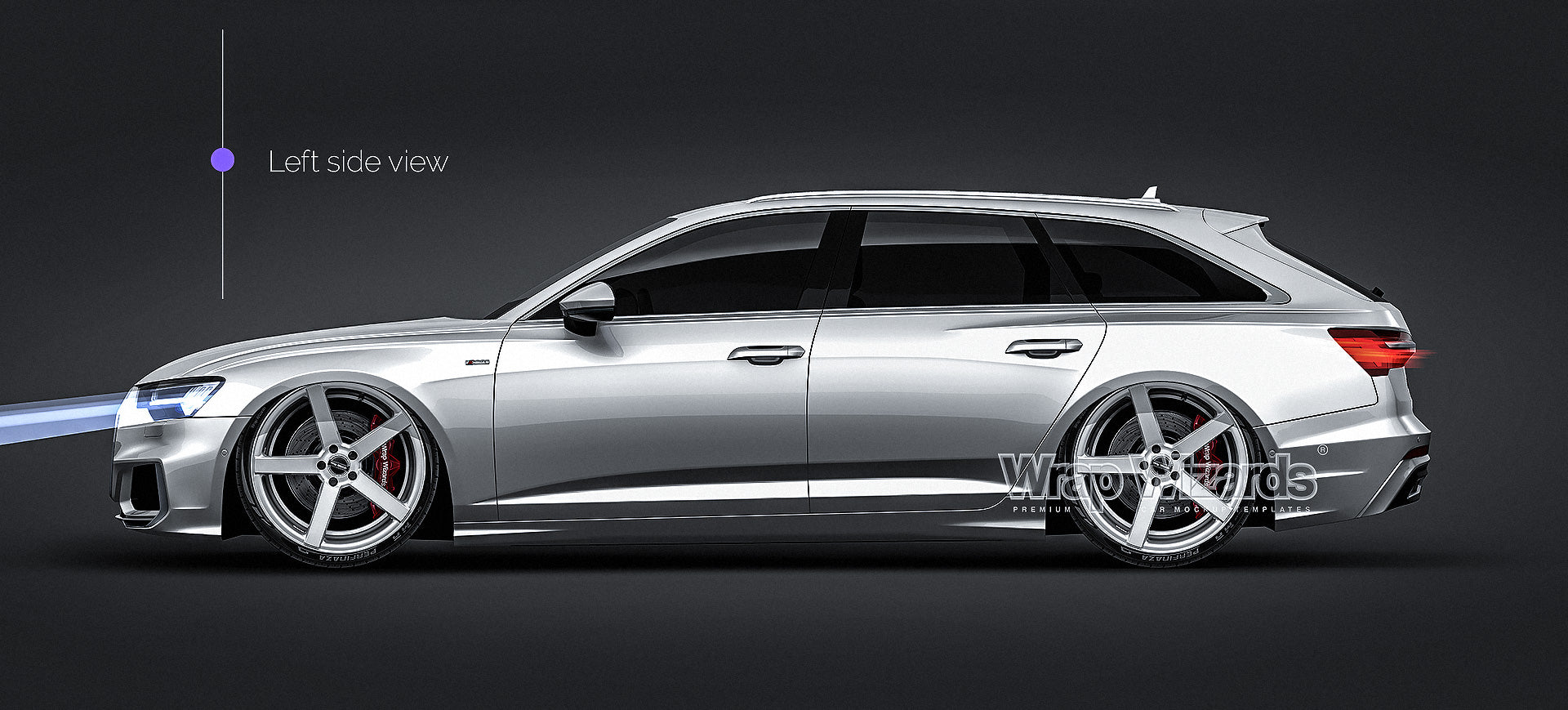 Audi A6 Avant S-line 2019 glossy finish - all sides Car Mockup Template.psd