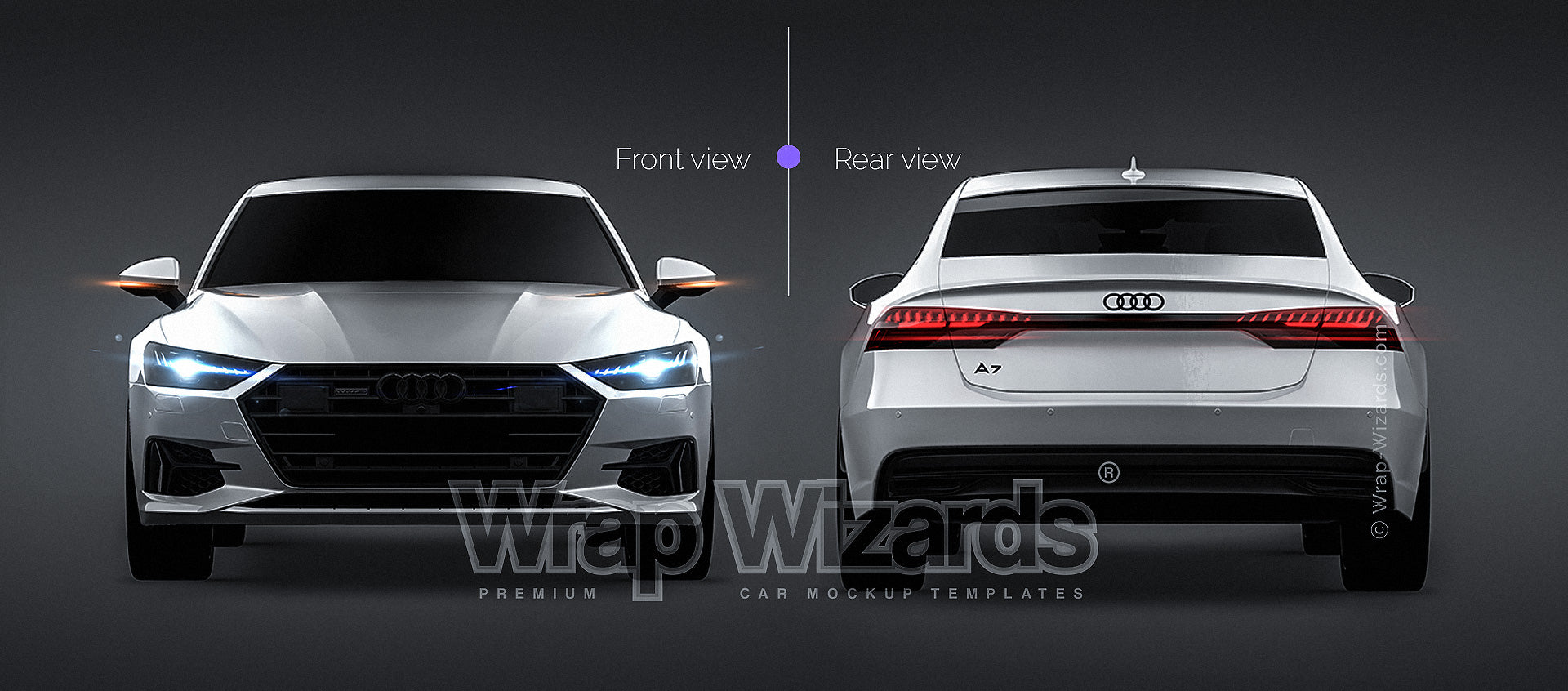 Audi A7 Sportback 2018 glossy finish - all sides Car Mockup Template.psd