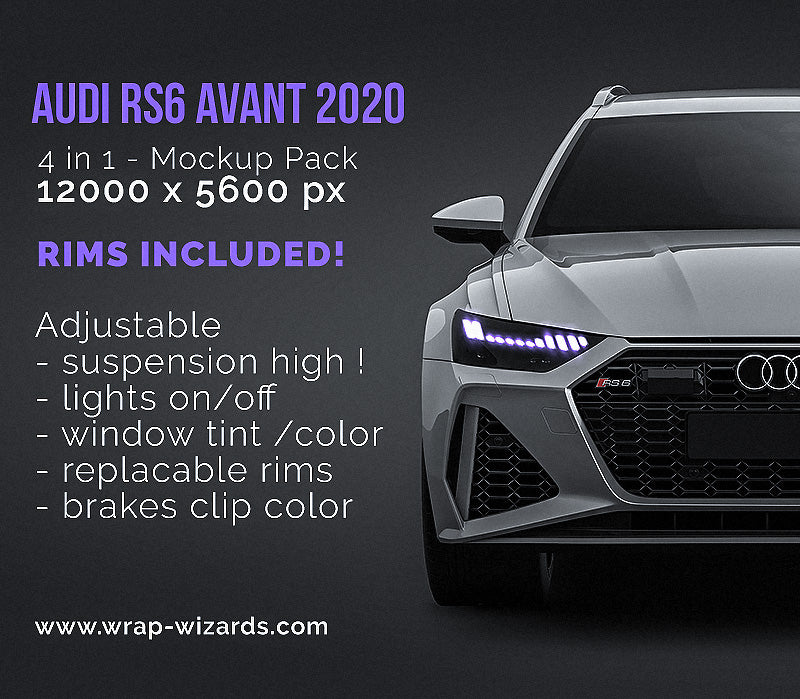 Audi RS6 Avant 2020 - all sides Car Mockup Template.psd
