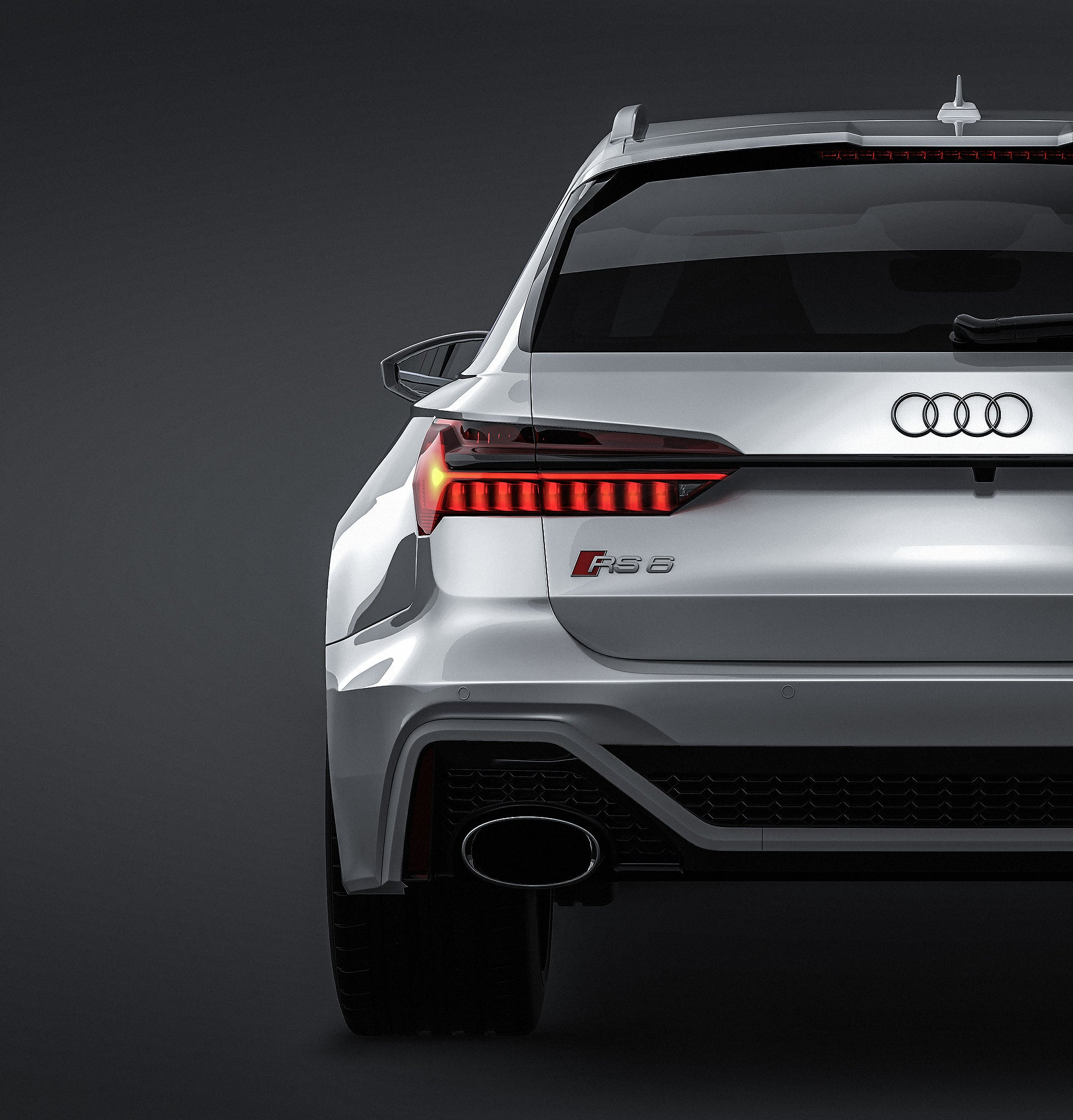 Audi RS6 Avant 2020 glossy finish - all sides Car Mockup Template.psd