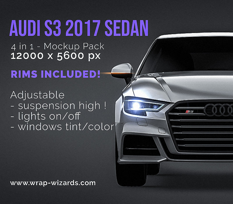 Audi S3 2017 sedan all sides Car Mockup Template.psd