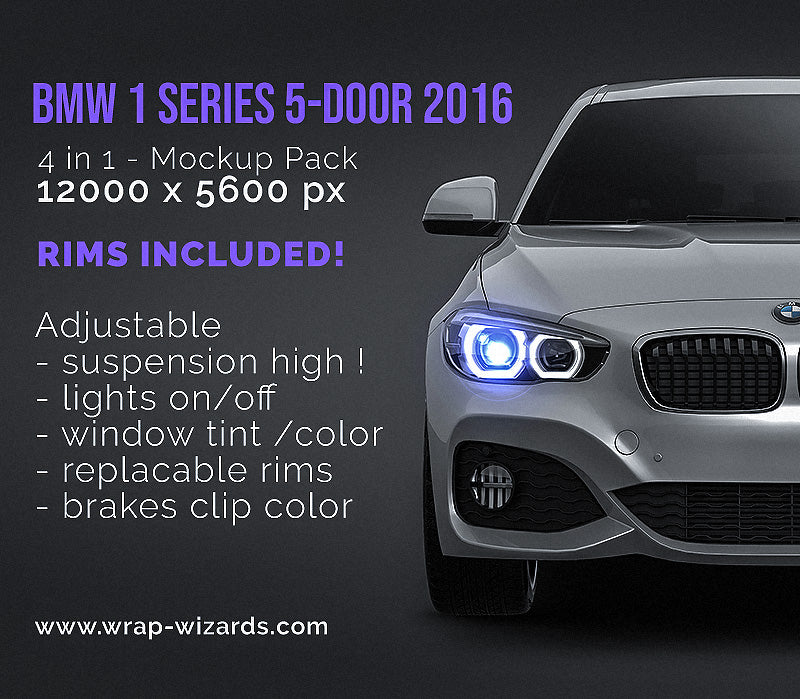 BMW 1 Series F20 5-door 2016 glossy finish - all sides Car Mockup Template.psd