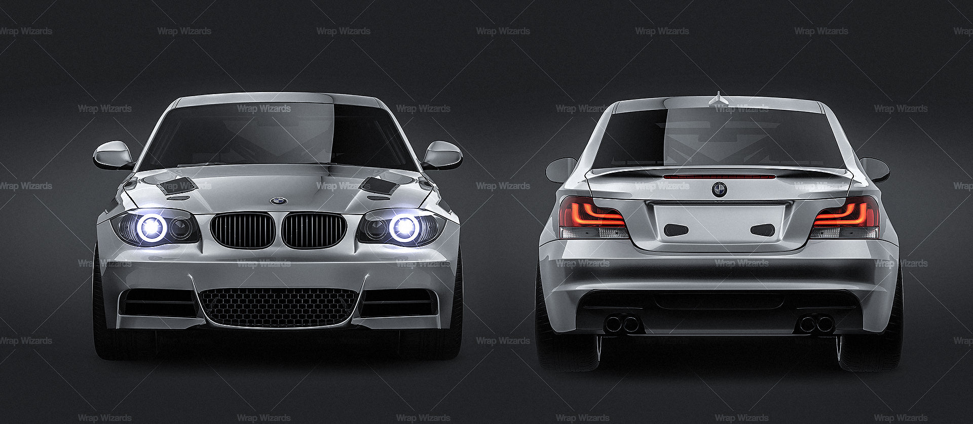 BMW 1 Series E82 Coupe 2009 - all sides Car Mockup Template.psd