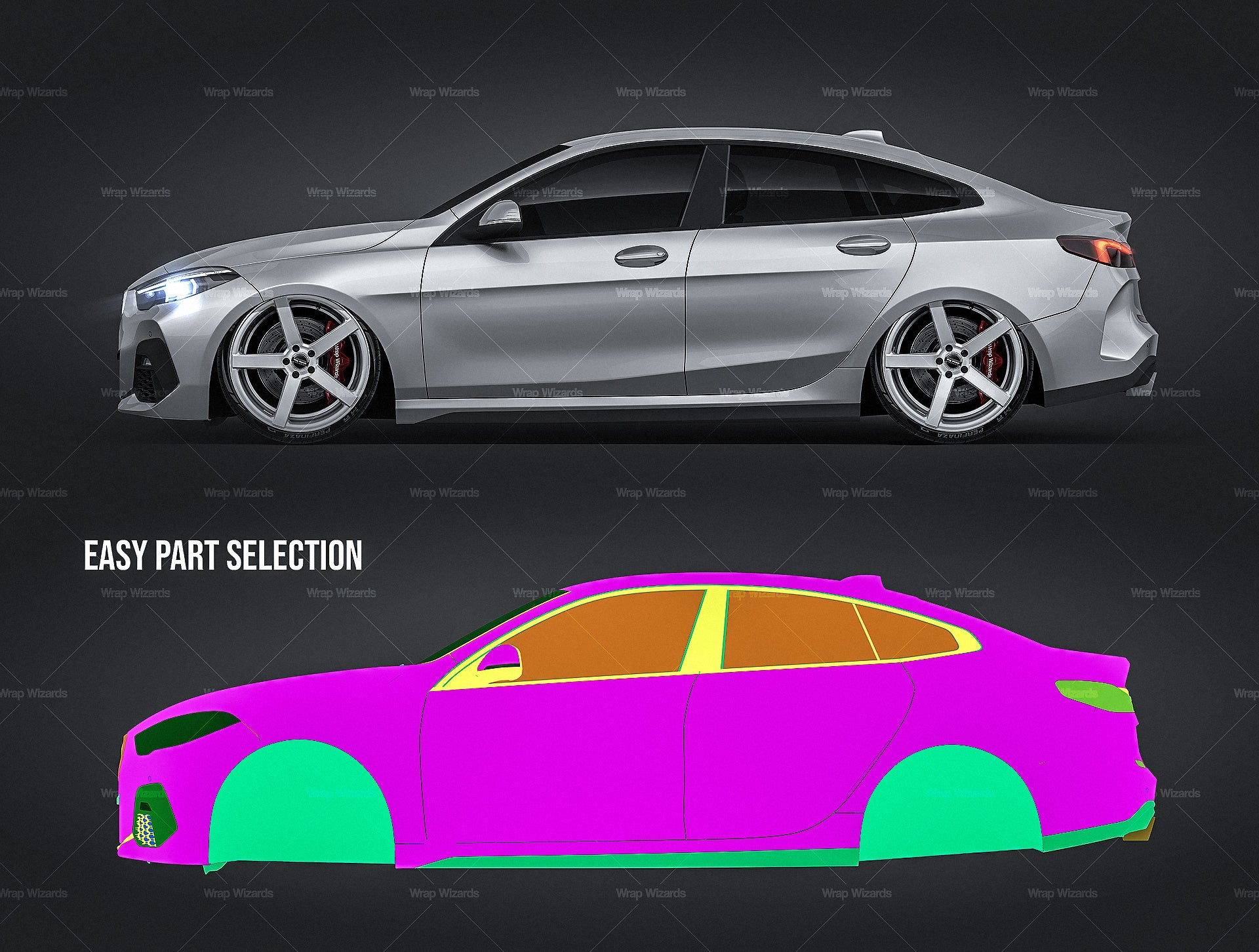 BMW 2 Series Gran Coupe 2020 all sides Car Mockup Template.psd