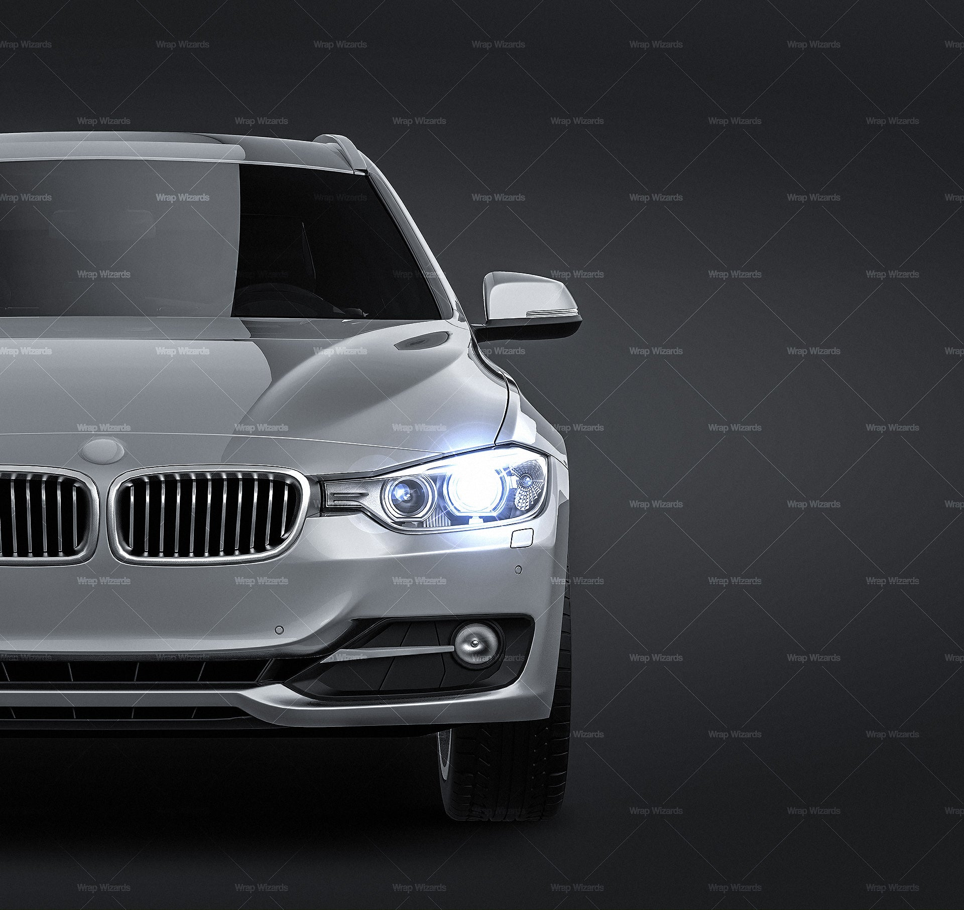 BMW 3 series F31 Touring 2013 all sides Car Mockup Template.psd