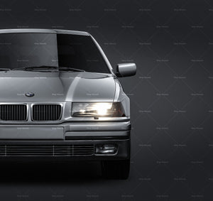 BMW 3-series E36 Touring 1990 all sides Car Mockup Template.psd