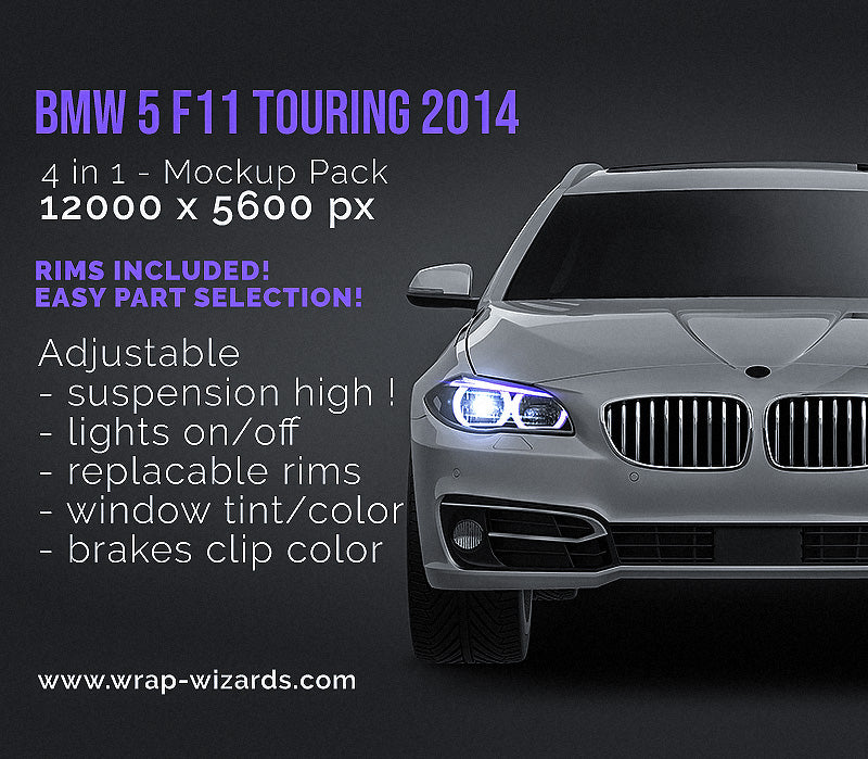 BMW 5 F11 Touring 2014 all sides Car Mockup Template.psd