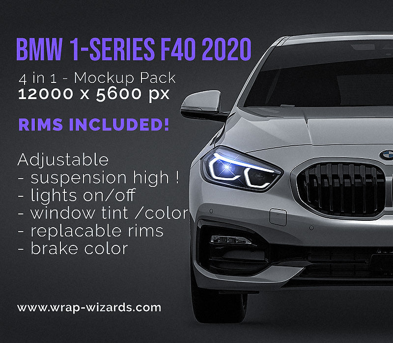 BMW 1-series F40 2020 glossy finish - all sides Car Mockup Template.psd