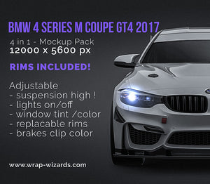 BMW 4 Series M coupe GT4 2017 glossy finish - all sides Car Mockup Template.psd