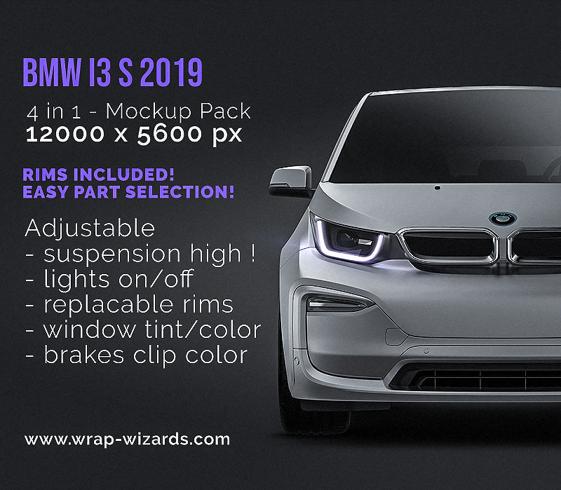 BMW i3 S 2019 all sides Car Mockup Template.psd