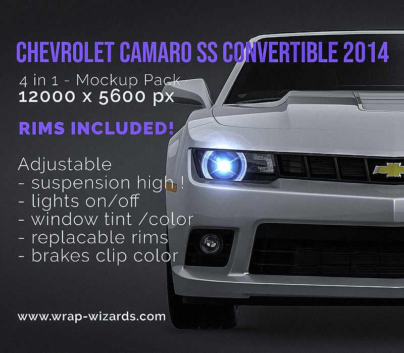 Chevrolet Camaro SS Convertible 2014 glossy finish - all sides Car Mockup Template.psd