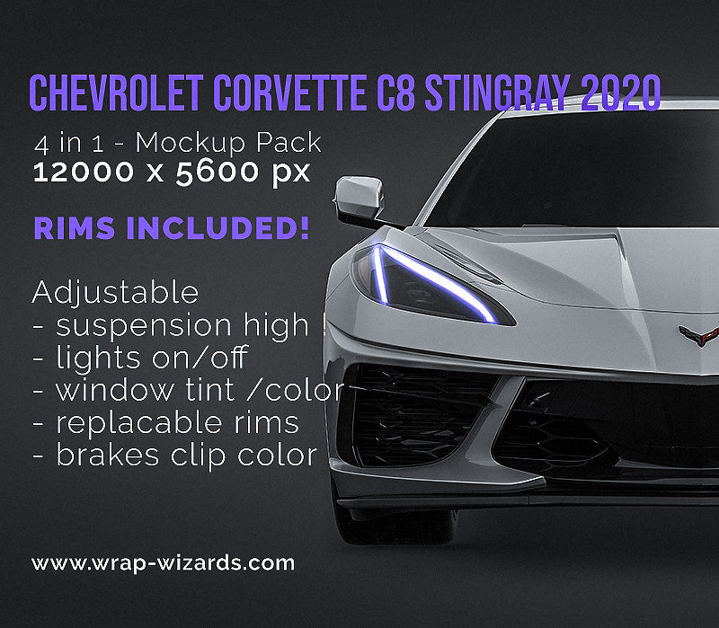 Chevrolet Corvette C8 Stingray 2020 all sides Car Mockup Template.psd