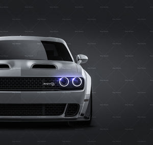 Dodge Challenger Hellcat 2019 all sides Car Mockup Template.psd