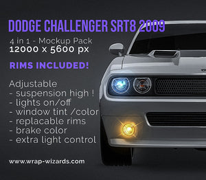 Dodge Challenger SRT8 2009 all sides Car Mockup Template.psd