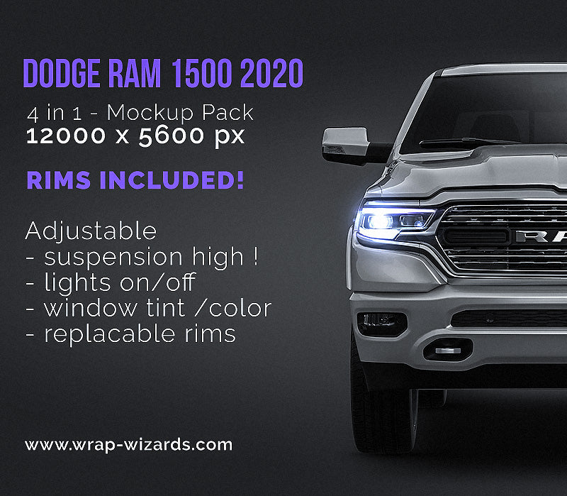 Dodge RAM 1500 2020 - all sides Car Mockup Template.psd