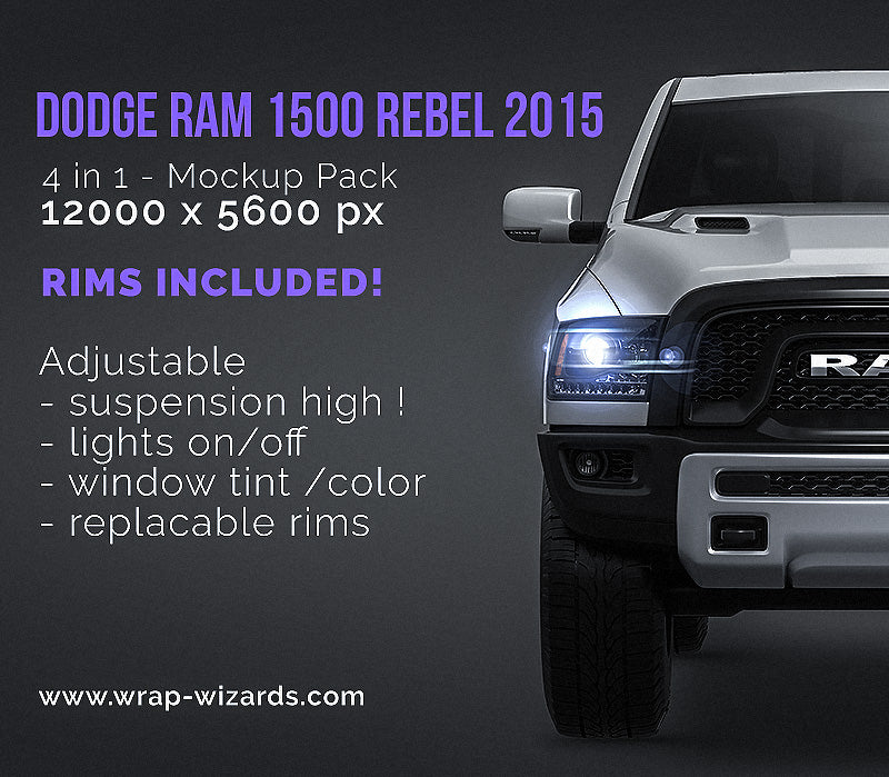 Dodge RAM 1500 Rebel 2015 - all sides Car Mockup Template.psd