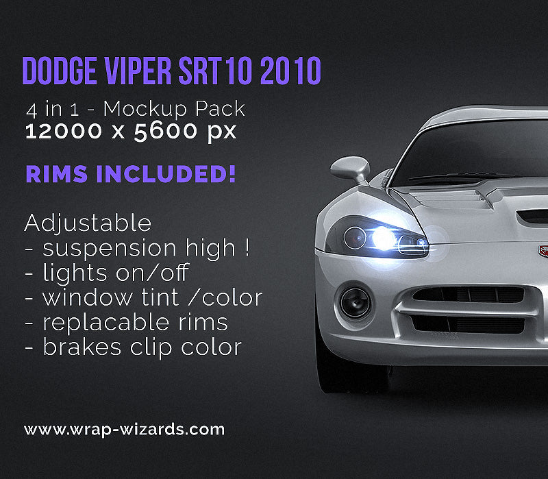 Dodge Viper SRT10 2010 - all sides Car Mockup Template.psd