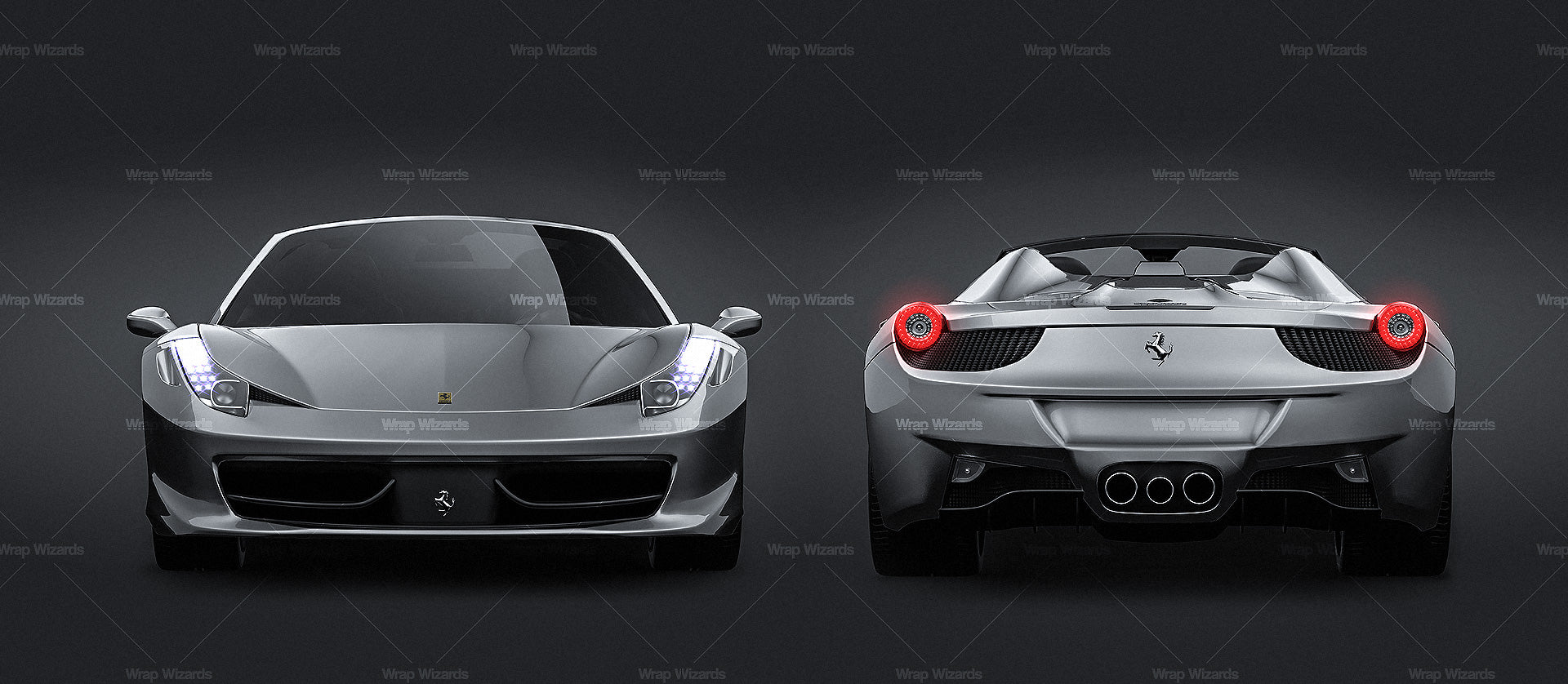 Ferrari 458 Spider 2012 glossy finish - all sides Car Mockup Template.psd