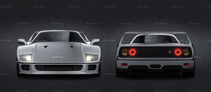 Ferrari F40 - all sides Car Mockup Template.psd
