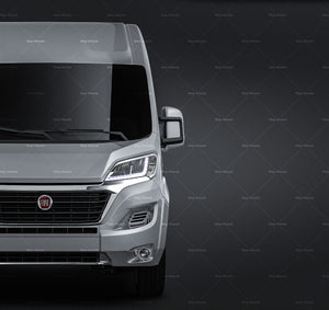 Fiat Ducato 2020 with side windows all sides Car Mockup Template.psd