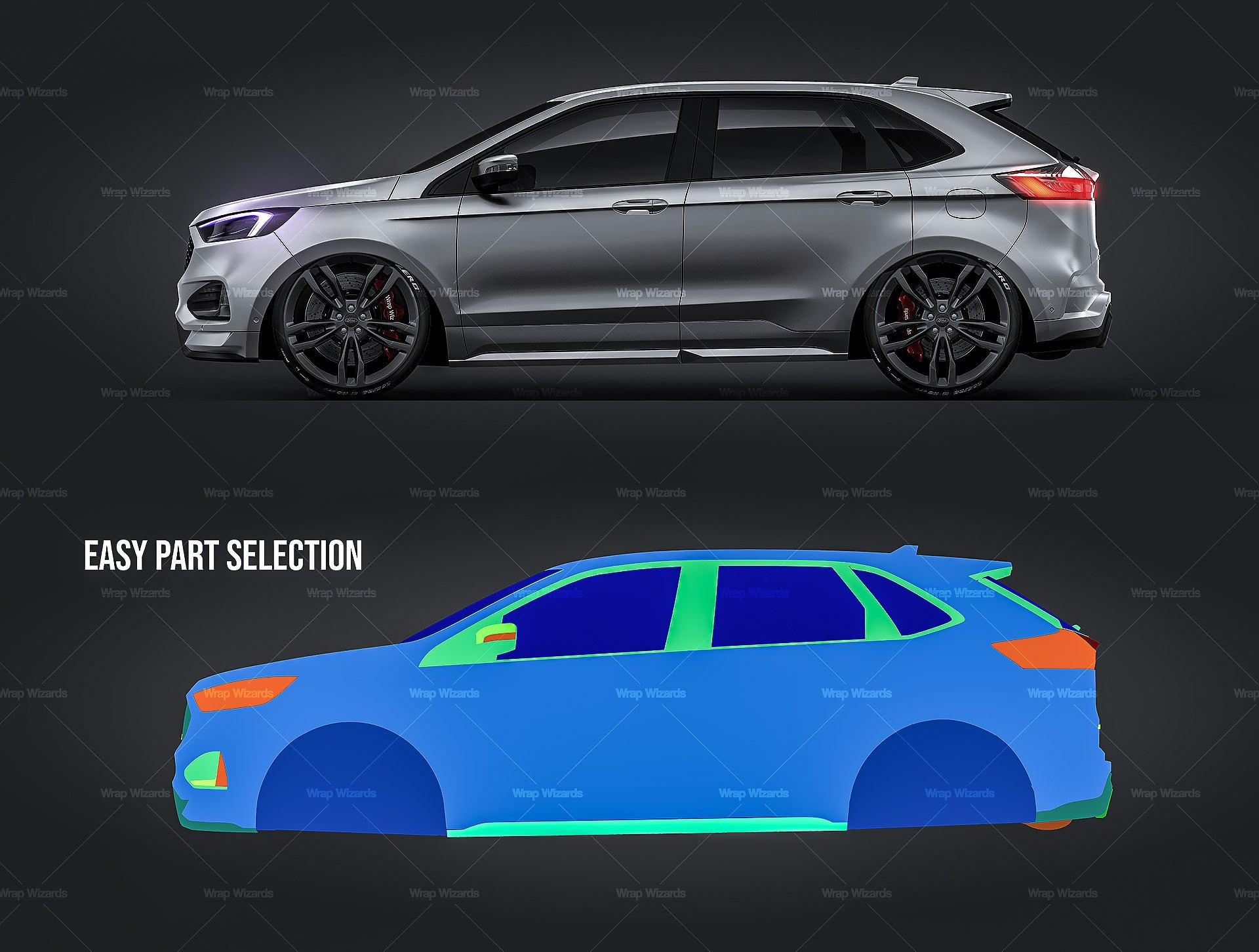 Ford Edge ST 2019 satin matt finish - all sides Car Mockup Template.psd